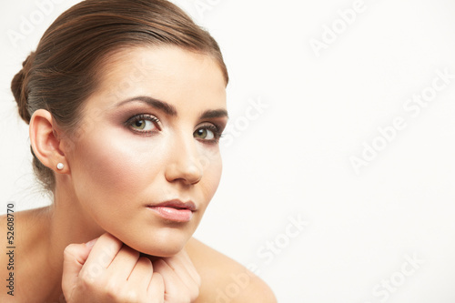 Isolated woman face on white background.