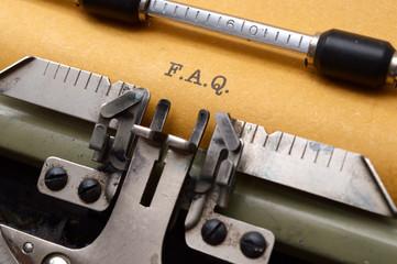 F.A.Q on typewriter
