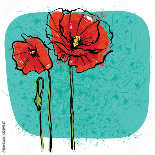 Tuinposter Abstract bloemen Red Poppies on background