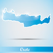 shiny icon in form of Crete island, Greece