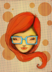 Girl with big blue glasses