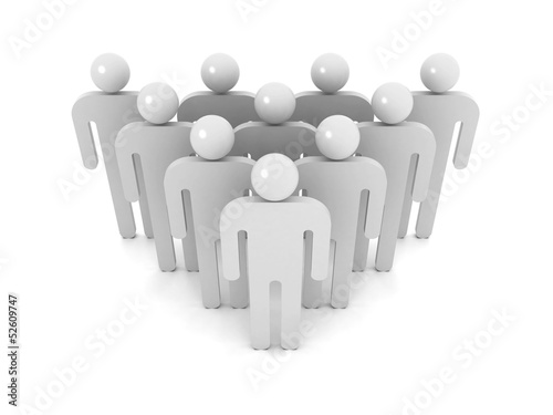 Group of schematic gray people on white
