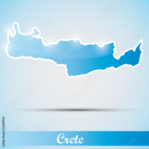 shiny icon in form of Crete island, Greece