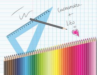 Dessin et crayons de couleur : amour