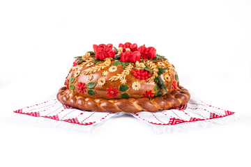 Ukrainian festive bakery Holiday Bread on white