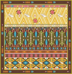 Seamless colorful aztec rug with birds, and arrow