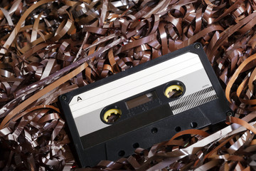 Blank Recordable Audio Cassette on Magnetic Tape