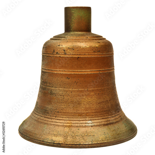 Ancient large church bell isolated on white