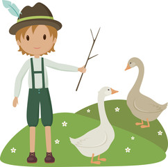 Little herder with two goose