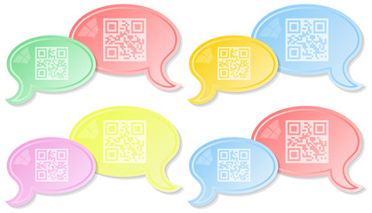 QR chat dialog - set of four versions