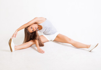 beautiful Woman stretching muscles