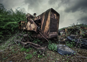 abandoned construction vehicle