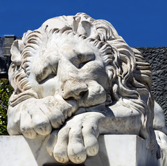 Marble sculpture of sleeping lion in Vorontsov Palace,  Crimea