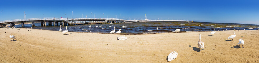 Panorama at Sopot molo - the longest wooden pier in Europe