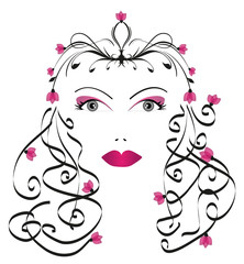 volto femminile con motivi floreali rosa su sfondo bianco