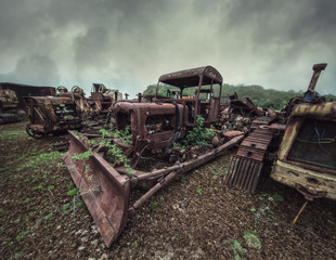 rusty bulldozer