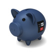 3D model of piggy bank with security system to protect money