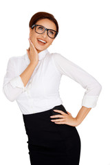 Laughing businesswoman in glasses
