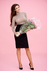 Beautiful stylish woman with roses