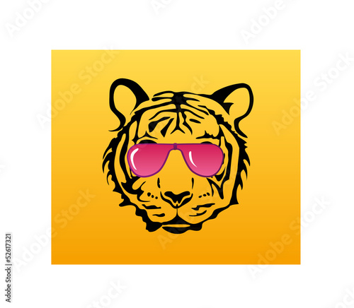 Tiger face with pink glasses