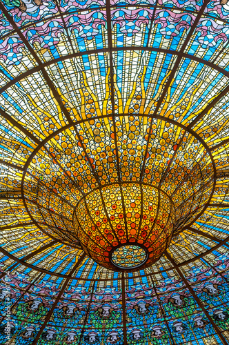 Ceiling in Misic Palace, Barcelona, Spain