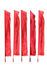 red flags are isolated on a white background