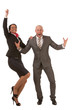 Businessman and businesswoman cheering in success