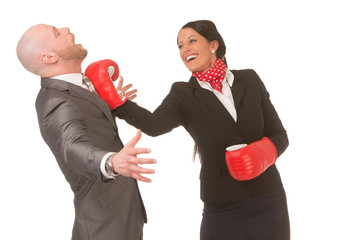 Successful businesswoman knocks-out competition