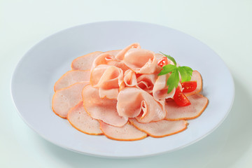 Delicately sliced ham