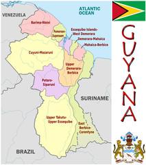 Guyana America emblem map symbol administrative divisions