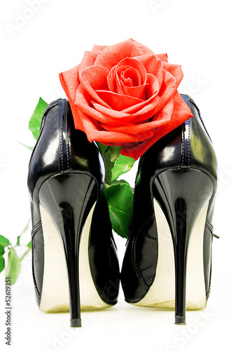 lady shoes and red rose on a white background