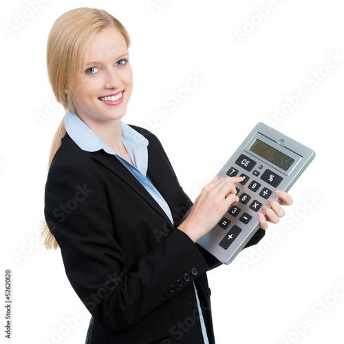 geschäftsfrau macht eine kalkuation