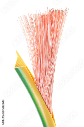 Electrical grounding cable isolated on white background