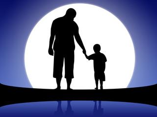 Ilustração - Pai e filho de mão dada