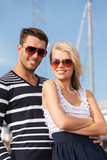 happy young couple in port