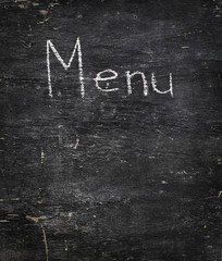 Chalk on black board: Menu