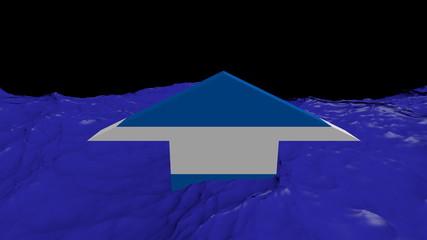 Nicaragua flag arrow in abstract ocean animation