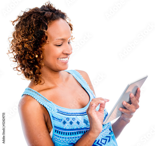 Woman using app on a tablet