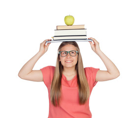 College student charged with books on her head