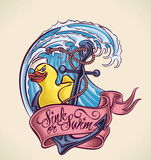Sink or Swim - tattoo design