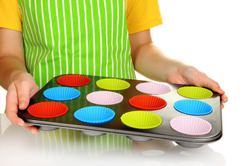 Preparing  muffin cakes close up