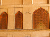 Islamic pattern woodern screen window in Chehel Sotoun (Sotoon)