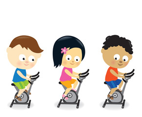 Kids riding exercise bikes