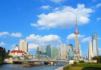 Shanghai bund Garden bridge skyline