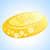 Vector yellow soap with bubbles