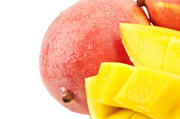 close up of a mango cut in a crisscross pattern
