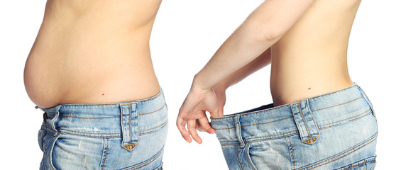 Woman belly isolated on white background from fat to thin.