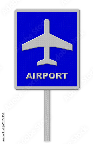 Airport sign, blue isolated road traffic