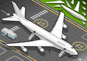 Isometric White Airplane Landed in Front View