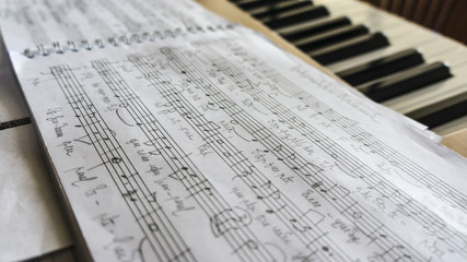 notebook with music notes